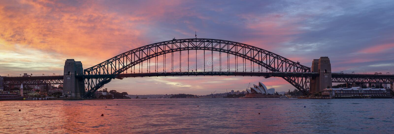 Панорама моста гавани Сиднея стоковая фотография rf