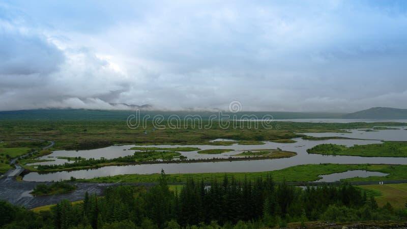 Панорама национального парка Tingvellir, Исландии стоковое изображение rf