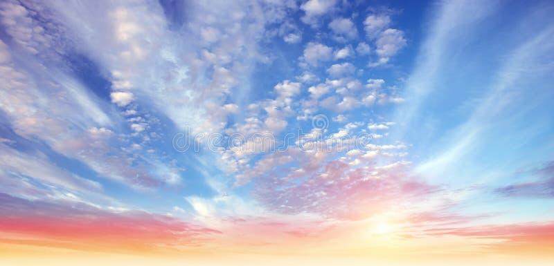 Панорама неба лета восхода солнца стоковые фото