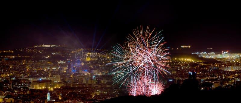Панорама ночи Барселоны стоковая фотография