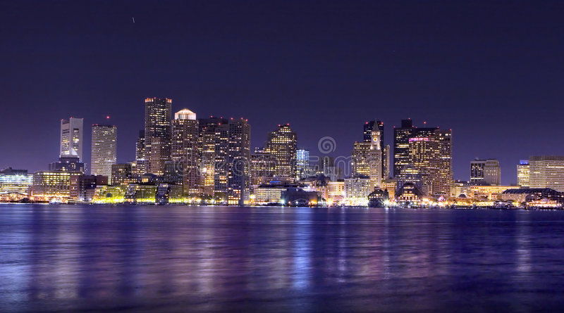 Панорама ночи Бостон Стоковые Изображения