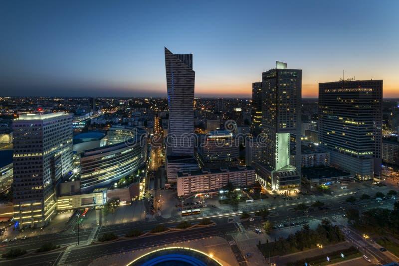 Панорама ночи Варшавы городская стоковое фото rf