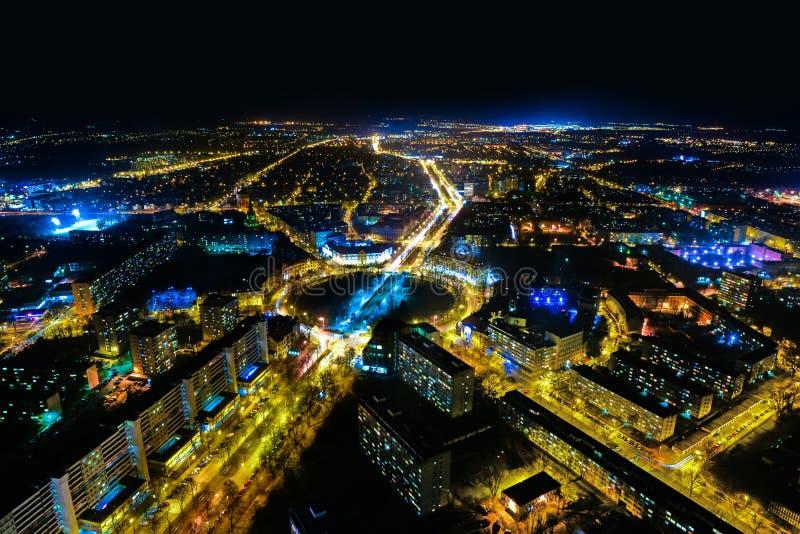 Панорама ночи Wroclaw стоковое фото rf