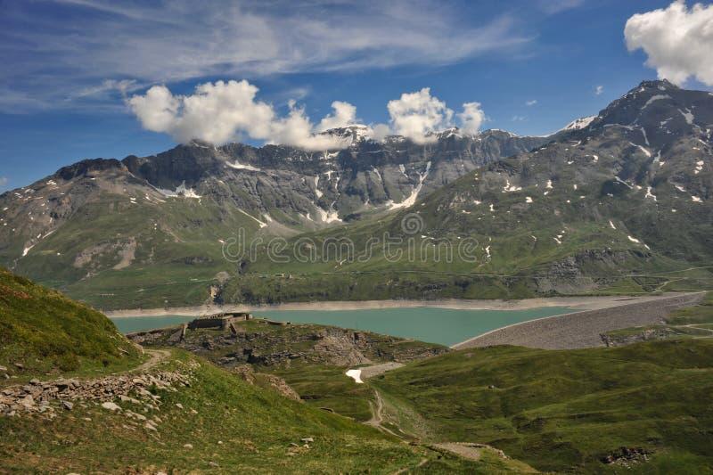 Панорама озера Mont Cenis стоковая фотография