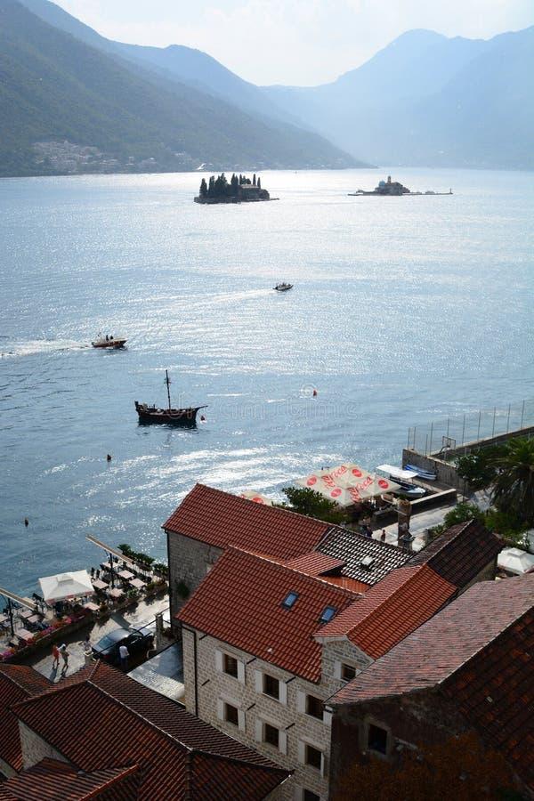 Панорама от церков St Nicholas Залив Perast Kotor Черногория стоковая фотография