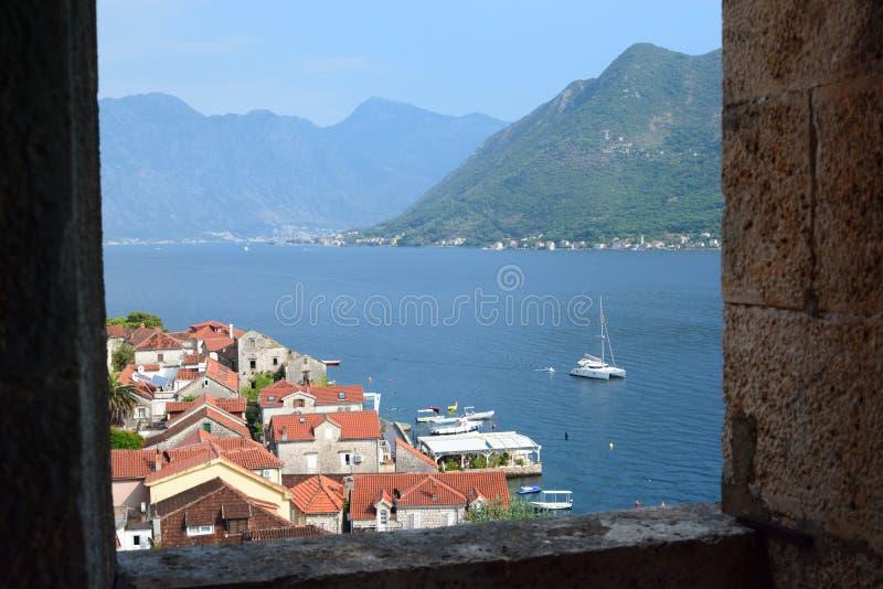 Панорама от церков St Nicholas Залив Perast Kotor Черногория стоковые изображения rf