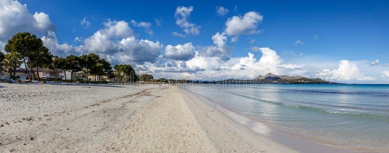 Панорама пляжа ALcudia и залива Alcudia стоковые фото