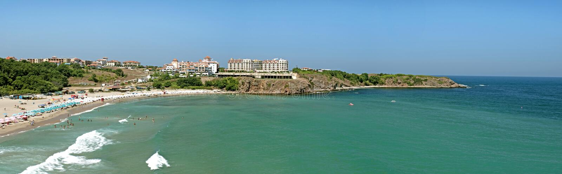 Панорама пляжного комплекса стоковые изображения rf
