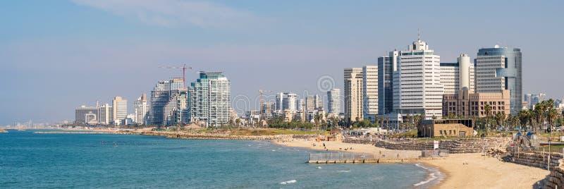 Панорама портового района Тель-Авив, Израиля стоковое изображение rf