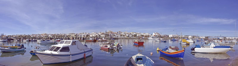панорама Португалия lagos города стоковые фото