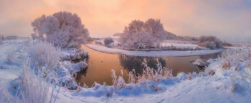 Панорама природы зимы на восходе солнца стоковые изображения