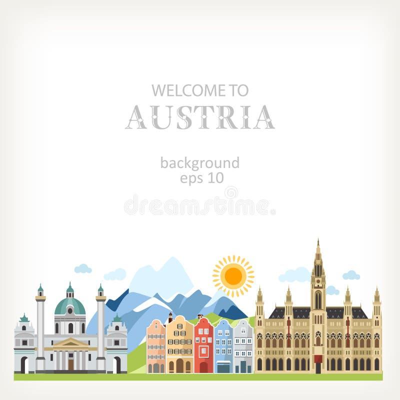 Панорама природы улицы предпосылки Австрии иллюстрация штока