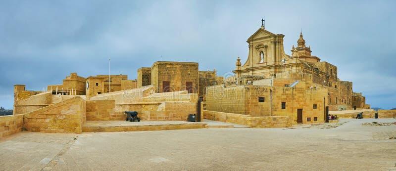 Панорама Рабата от бастиона St Michael, Виктория, Gozo, Мальты стоковая фотография