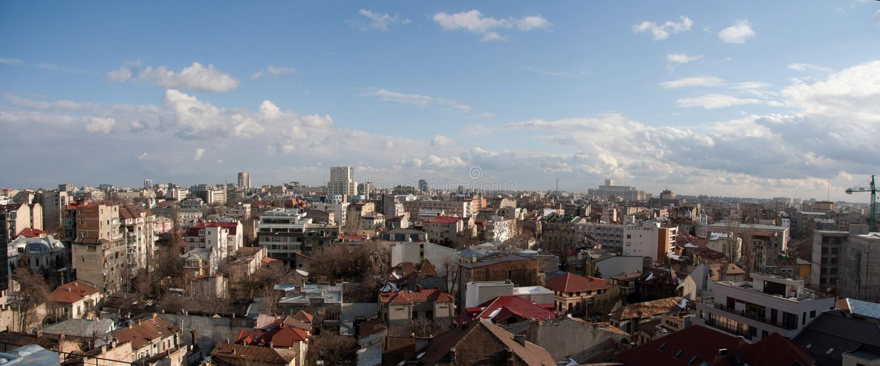 панорама разбивочного города bucharest старая стоковые фото