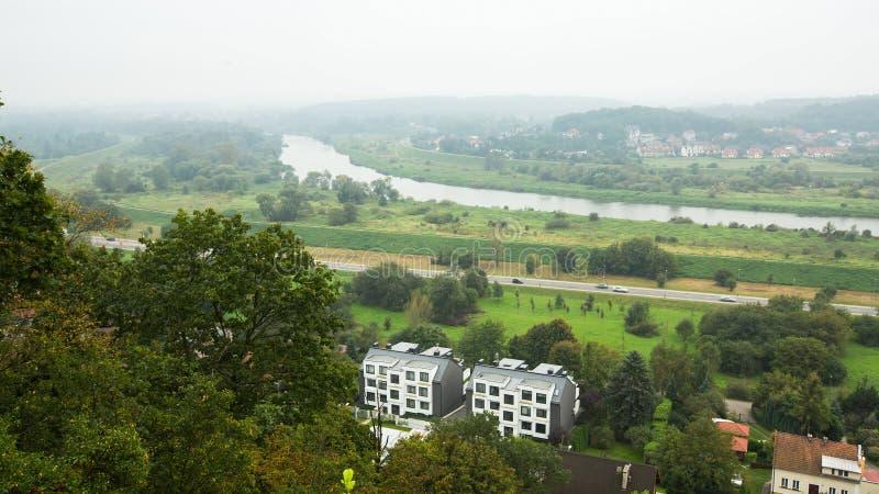 Панорама Рекы Висла в тумане утра Польша Природа стоковые фотографии rf
