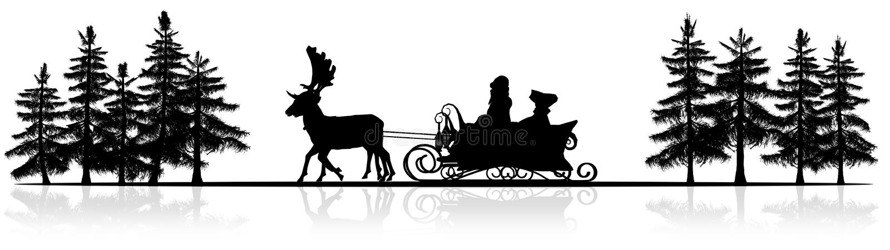 Панорама рождества - сани Санта Клауса, rendeers, деревья иллюстрация вектора