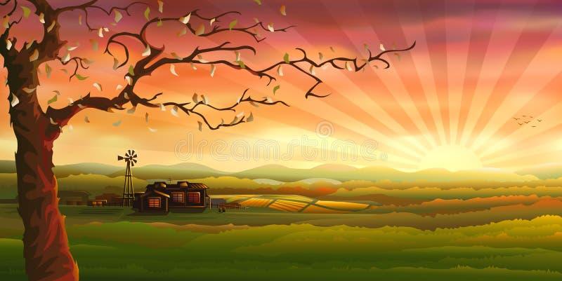 панорама сельской местности иллюстрация штока