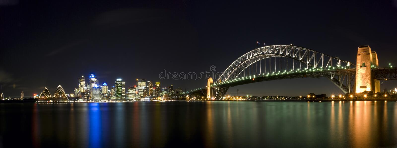 панорама Сидней гавани моста стоковое изображение rf