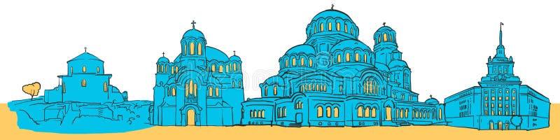 Панорама Софии покрашенная Болгарией бесплатная иллюстрация