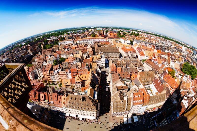 Панорама страсбурга городская, столица эльзасской Франции стоковые фотографии rf