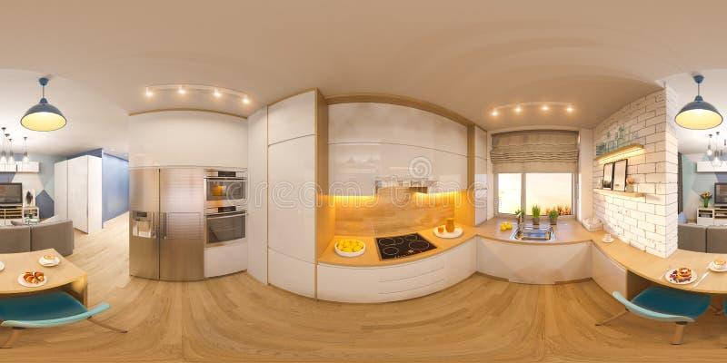 панорама сферически 360 иллюстрации 3d безшовная живущей комнаты a иллюстрация вектора
