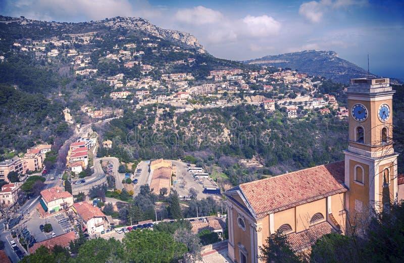 Панорама с взглядом на церков Eze, малой деревне около славного стоковая фотография rf