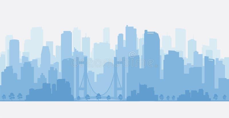 Панорама с небоскребами, горизонт города иллюстрация штока