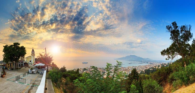 Панорама утра Закинфа стоковые фотографии rf