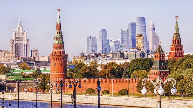 Панорама утра Москвы, России стоковые изображения