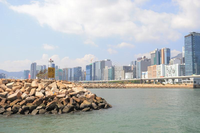 панорама фронта воды scape города схвата Kwun стоковые фотографии rf