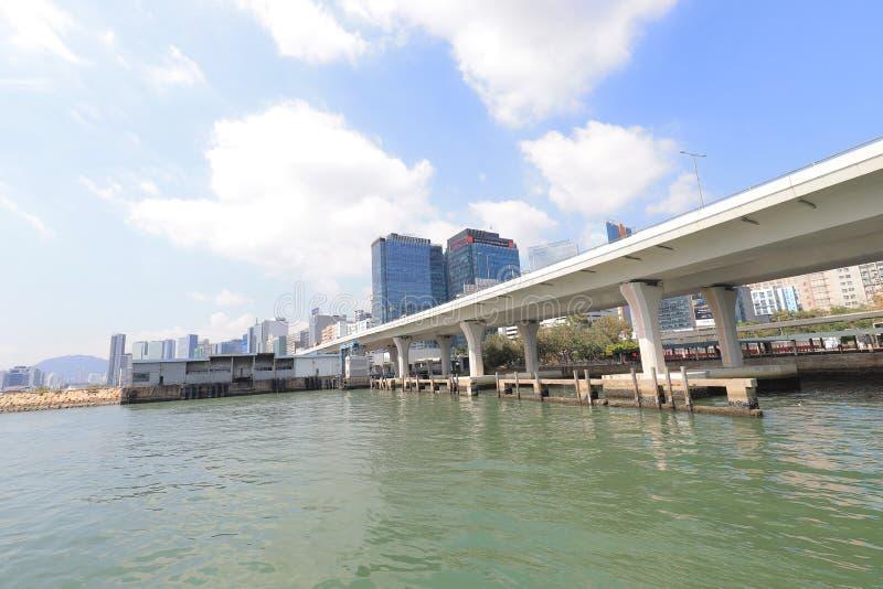 панорама фронта воды scape города схвата Kwun стоковые фото