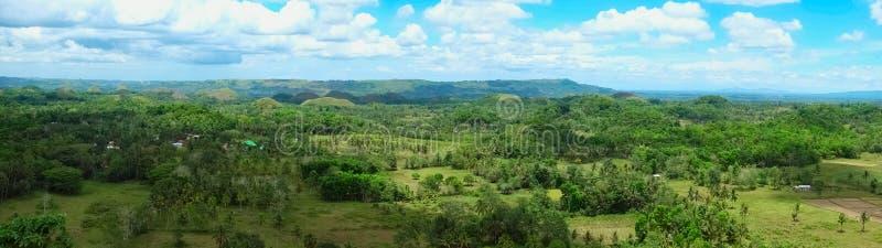 Панорама холмов шоколада в Филиппинах стоковые изображения rf