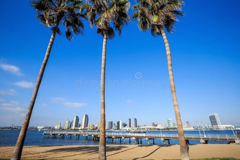 Панорама центра города Сан-Диего, Калифорнии стоковые фотографии rf