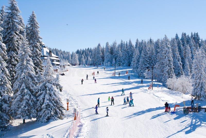 Панорама лыжного курорта Kopaonik, Сербии, людей катаясь на лыжах, домов покрытых с снегом стоковые изображения