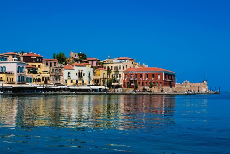 Панорама Chania, Крита, Греции стоковое фото rf
