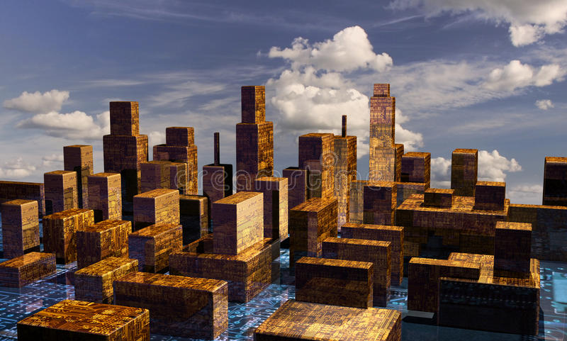панорама cyber города иллюстрация штока