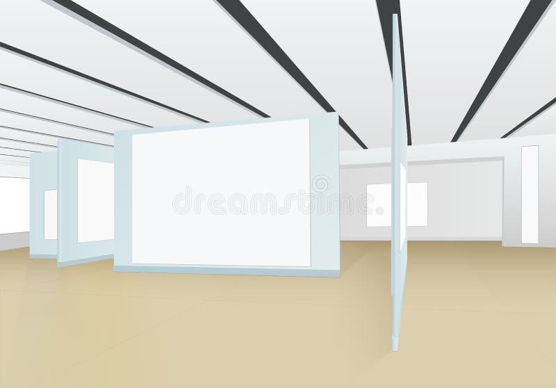 панорама 3D пустой залы картинной галереи с досками для стоковая фотография