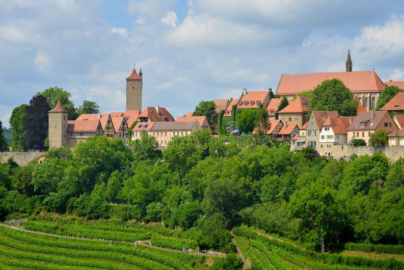 Панорама der Tauber ob Ротенбурга, Германии стоковое фото rf