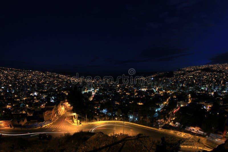 Панорама La Paz ночи, Боливии стоковая фотография