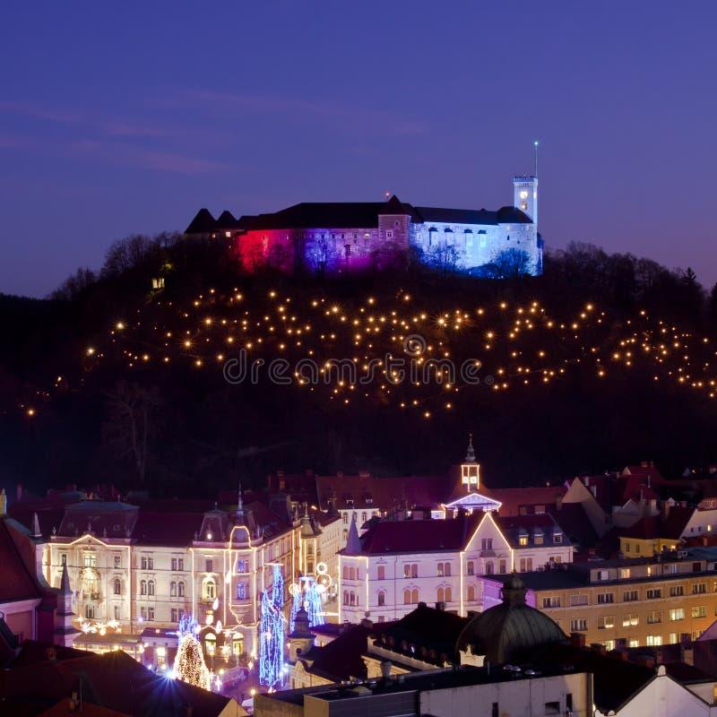 панорама ljubljana сумрака стоковая фотография rf