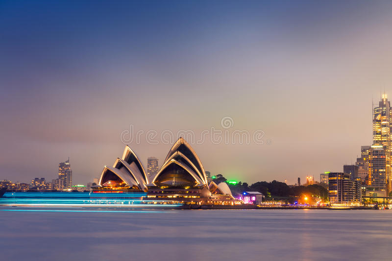 Панорама nighttime гавани Сиднея осмотренная от Kirribilli стоковые фотографии rf