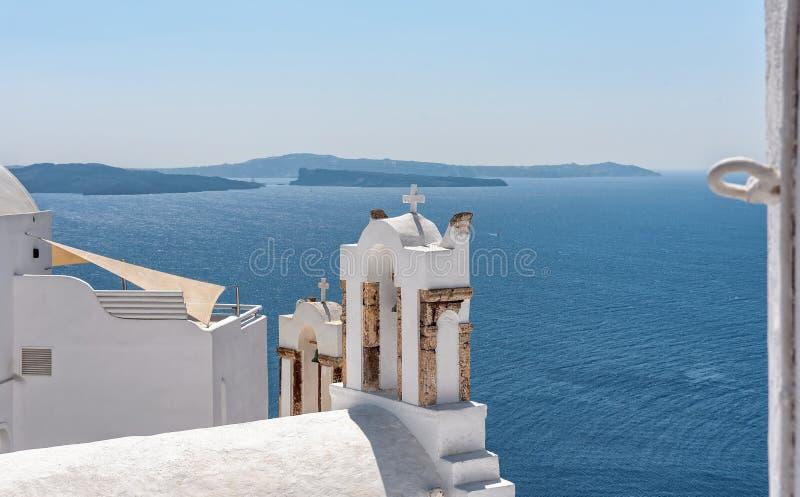 Панорама Oia - остров Santorini Кикладов - Эгейское море - Греция стоковые изображения