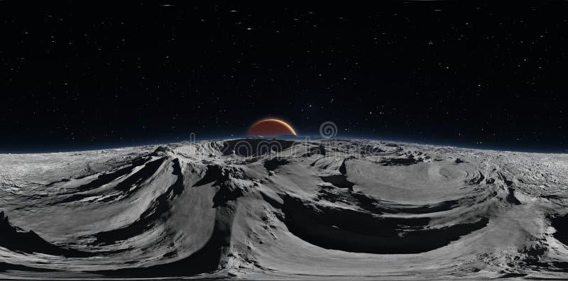Панорама Phobos с красной планетой Марсом на заднем плане, карта окружающей среды HDRI Проекция Equirectangular бесплатная иллюстрация