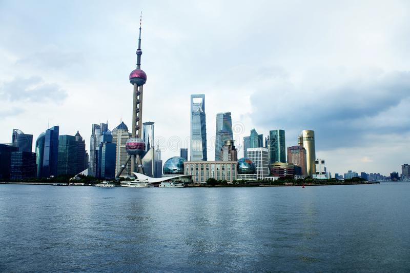 панорама shanghai bund стоковая фотография rf