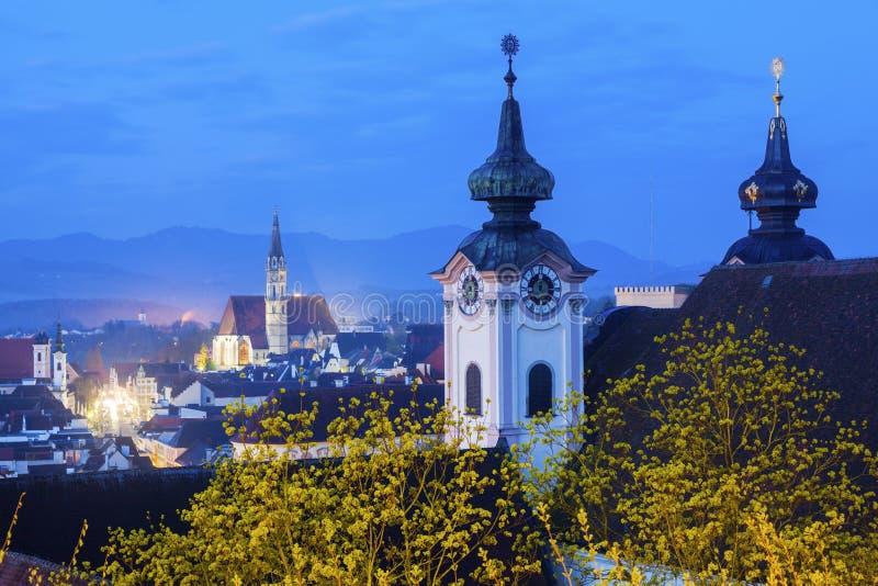 Панорама Steyr с церковью St Michael стоковая фотография rf