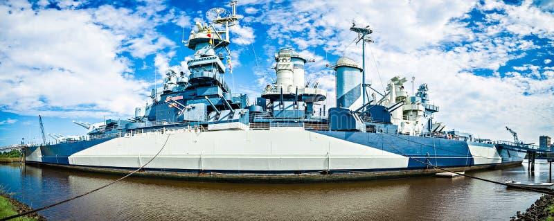 Панорама USS Северной Каролины стоковая фотография