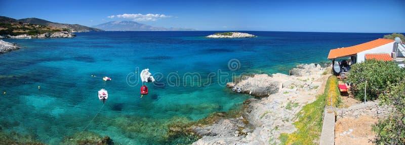 панорама zakynthos пляжа стоковая фотография