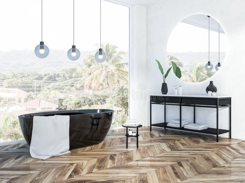 Панорамная белая ванная комната внутренняя, черный ушат иллюстрация вектора