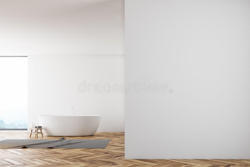 Панорамная белая ванная комната, глумится вверх по стене бесплатная иллюстрация