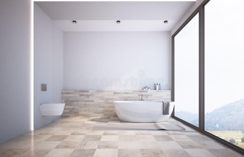 Панорамная белая ванная комната, туалет иллюстрация вектора